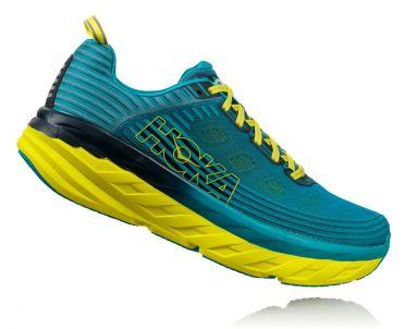 Hoka One One Bondi 6 running shoes blue/yellow men