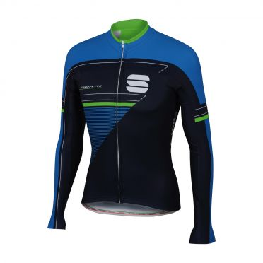Sportful Gruppetto thermal jersey black/blue/green men