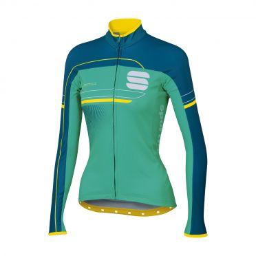 Sportful Grupetto pro W thermal long sleeve jersey green/blue women