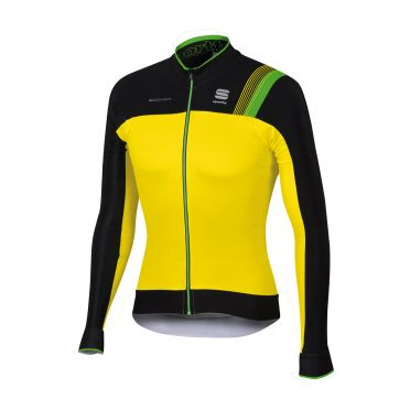 Sportful Bodyfit pro thermal long sleeve jersey yellow fluo/black men