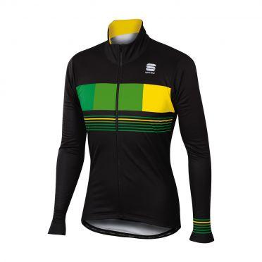 Sportful Stripe thermal long sleeve jacket black/green men