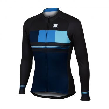 Sportful Stripe thermal long sleeve jersey blue/black men