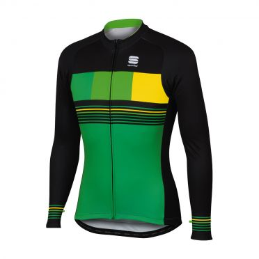 Sportful Stripe thermal long sleeve jersey green/black men