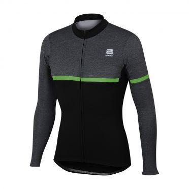 Sportful Giara warm long sleeve jersey black/green men
