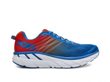 Hoka One One Clifton 6 wide running shoes red/blue men
