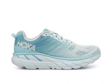 Hoka One One Clifton 6 wide running shoes blue/grey women
