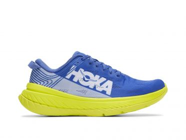 Hoka One One Carbon X running shoes blue/yellow men