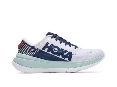 Hoka One One Carbon X running shoes white/light blue men