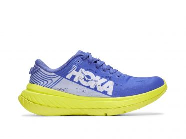 Hoka One One Carbon X running shoes blue/yellow women
