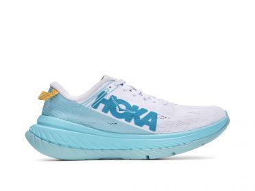 Hoka One One Carbon X running shoes cyan/white women
