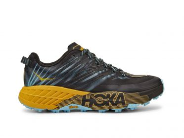 Hoka One One Speedgoat 4 trail running shoes black/yellow women