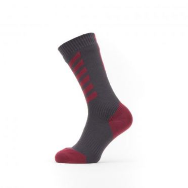 Sealskinz Cold weather mid cycling socks with Hydrostop gray/red