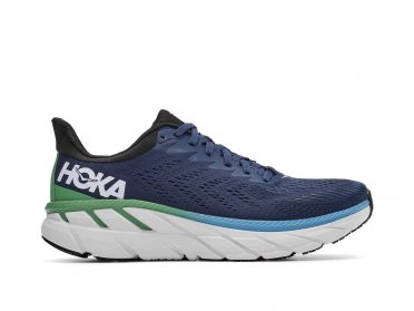 Hoka One One Clifton 7 running shoes blue/green men