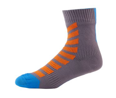 Sealskinz MTB ankle with hydrostop cycling socks anthracite/orange/blue