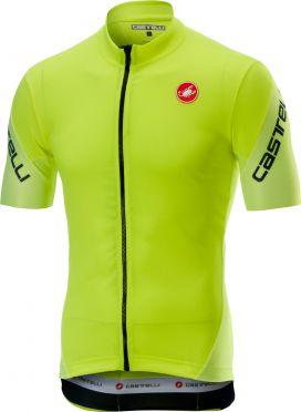 Castelli Entrata 3 FZ jersey short sleeve yellow fluo men