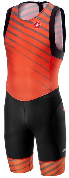 Castelli Short distance race trisuit back zip sleeveless orange men
