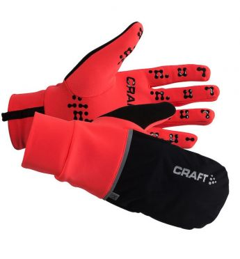 Craft Hybrid weather running glove red