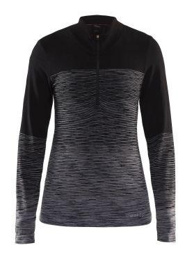 Craft wool comfort 2.0 CN zip long sleeve baselayer black women