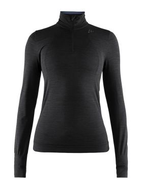 Craft Fuseknit comfort zip long sleeve baselayer black women