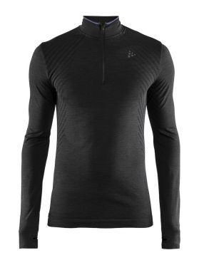 Craft Fuseknit comfort zip long sleeve baselayer black men