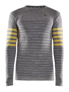 Craft Fuseknit comfort blocked long sleeve baselayer grey/yellow men