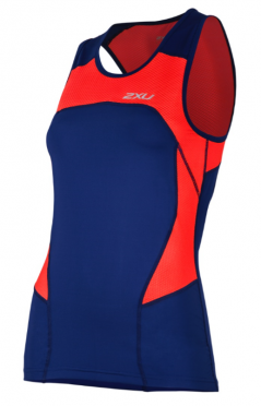 2XU Active Tri singlet blue/red women