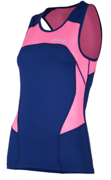 2XU Active Tri singlet blue/pink women