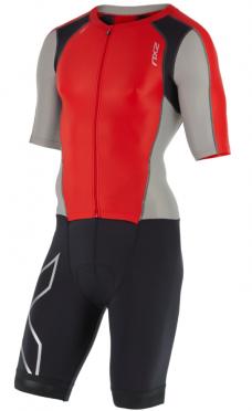 2XU Compression Full Zip sleeved trisuit black/red/grey men
