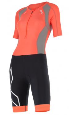 2XU Compression Full Zip sleeved trisuit orange/black women