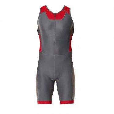 2XU X-vent trisuit front zip gray/red men