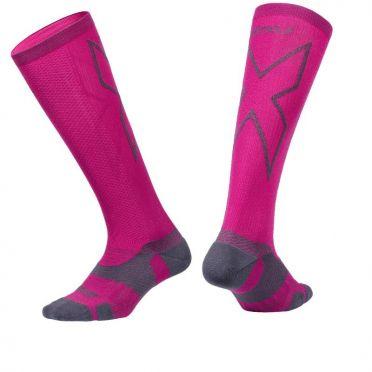 2XU Vectr merino LC Full Lenght compression high socks pink