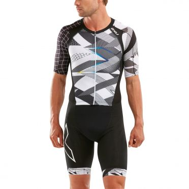 2XU Compression short sleeve trisuit black/white men