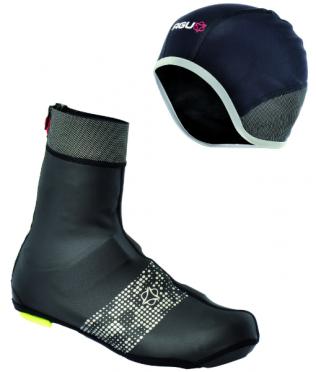 Agu Nova hivis overshoe black + Agu Nova hivis helmet cap unisex
