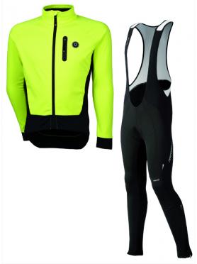 Agu Tarvisio WIND bibtight with seat pad + Tirano cycling jacket yellow men