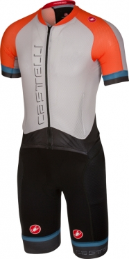 Castelli Sanremo 3.2 speedsuit short sleeve gray/orange men