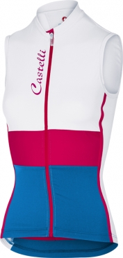 Castelli Protagonista sleeveless jersey white/raspberry/blue women