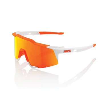 100% Speedcraft glasses white with hiper lens soft orange