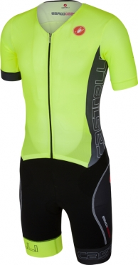 Castelli Free sanremo tri suit short sleeve yellow/anthracite men