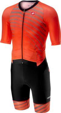 Castelli All out speed trisuit short sleeve orange/black men