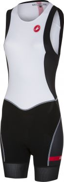 Castelli Short distance W race trisuit back zip sleeveless white/black women