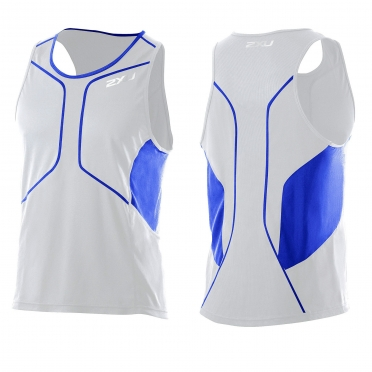 2XU Comp Run Singlet white blue (MR2285a)