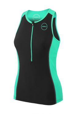 Zone3 Aquaflo plus sleeveless tri top black/mint women