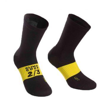 Assos spring/fall cycling socks black/yellow unisex