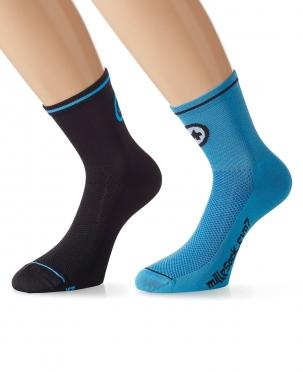 Assos MilleSock Evo7 cycling socks 2-pack black/blue
