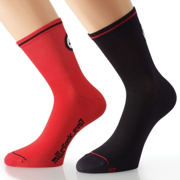 Assos MilleSock Evo7 cycling socks 2-pack black/red