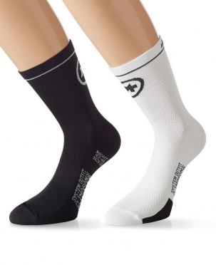 Assos MilleSock Evo7 cycling socks 2-pack white/black