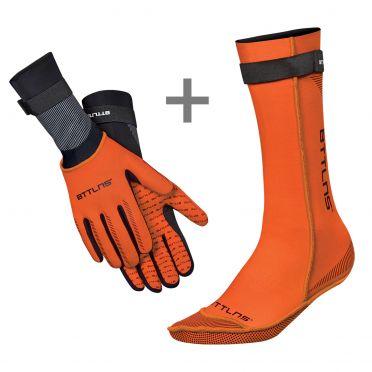 BTTLNS Neoprene swim socks and swim gloves bundle orange
