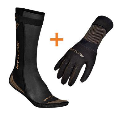 BTTLNS Neoprene swim socks and swim gloves bundle black/gold