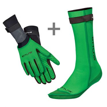 BTTLNS Neoprene swim socks and swim gloves bundle green