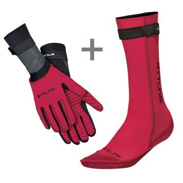 BTTLNS Neoprene swim socks and swim gloves bundle red